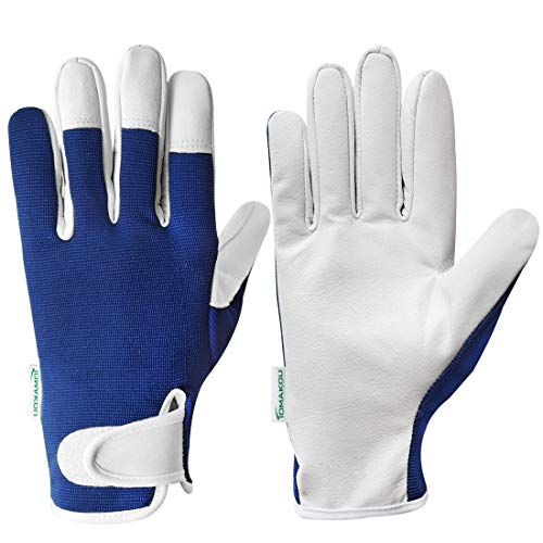 Genuine Leather Gardening Gloves - Women&Men - Pink/Blue Slim-fit Work Gloves - Ideal for Garden and Yard Work, Safe for Pruning Roses.(Blue,Mens Large)