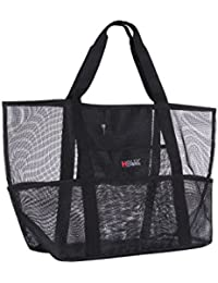 Mesh Beach Bag Toy Tote Bag Market Grocery & Picnic Tote with Oversized Pockets