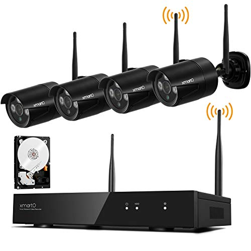 Long Range Video Surveillance - xmartO 1080p HD Wireless Security Camera System 4 Channel NVR with 1TB HDD and 4X 1080p Full HD 2.0MP Wireless Outdoor IP Cameras, Auto-Pair, NVR with Built-in WiFi Router, WiFi Relay, Audio Support