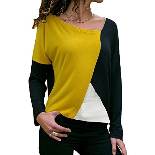 2018 Long Sleeve T-Shirt Women Casual Loose Tops Tee Shirt,Yellow Black,L