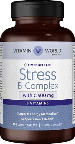 Vitamin World Stress B-Complex with 500 mg. Vitamin C Timed Release 120 Caplets, Vegetarian, Coated, Timed-Release