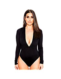 HANYI Women Casual Long Sleeve V Neck Jumpsuit Bodysuit Rompers Tops Blouse