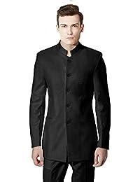 MYS Men's Custom Made Mandarin Collar Dancing Suit Pants Set Black