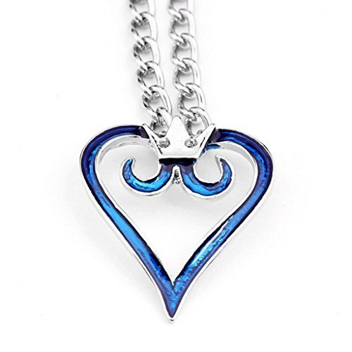 Cosplay Anime Kingdom Hearts 2 Crown Logo Pendant Blue Heart Necklace - 1 Day Shipping Free