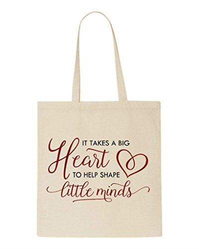 Takes Help Shape Sublimation Bag It Shopper Gift To Heart Big Tote Natural A Minds Little Appreciation Teacher 4wqxXxpFd
