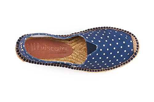 VISCATA Damen Barceloneta Authentic & Original Spanisch Made Espadrille Wohnungen Polka Marine
