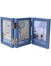 Janice life Wood Folding Picture Frames with Glass-Hinged Double Picture Frames- Triple Fold Photo Frame Tabletop Frames