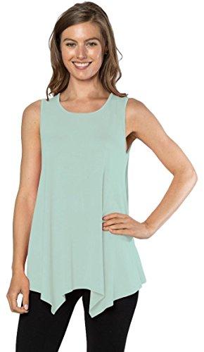 Womens Tunic Tank Top T-Shirt - Loose Basic Sleeveless Tee Shirt Blouse, (Seafoam-XL) (Seafoam Green)