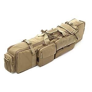 R-STYLE サバゲー の ライフル キャリア や 撮影機材運搬 に 外部USB端子付 トリプルブロック 大容量 ダブル ガンケース (カーキ USB)