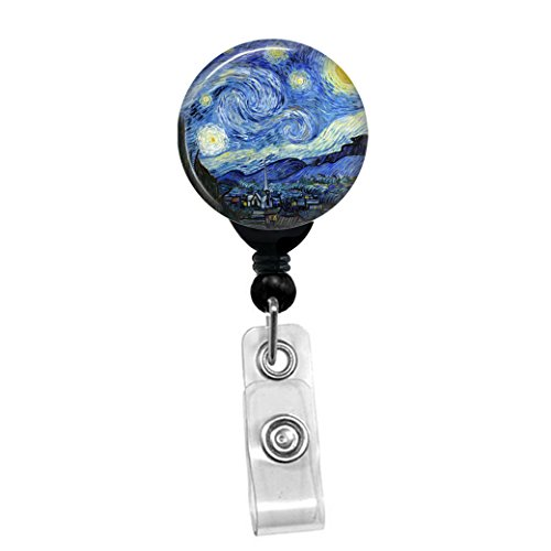 - Vincent Van Gogh - The Starry Night -Retractable Badge Reel - ID Name Tag Custom Badge Holder (Black Badge Reel with Spring Pinch Clip)