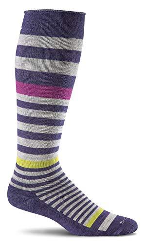 Sockwell Women's Orbital Stripe Graduated Compression Socks, Concorde, Medium/Large
