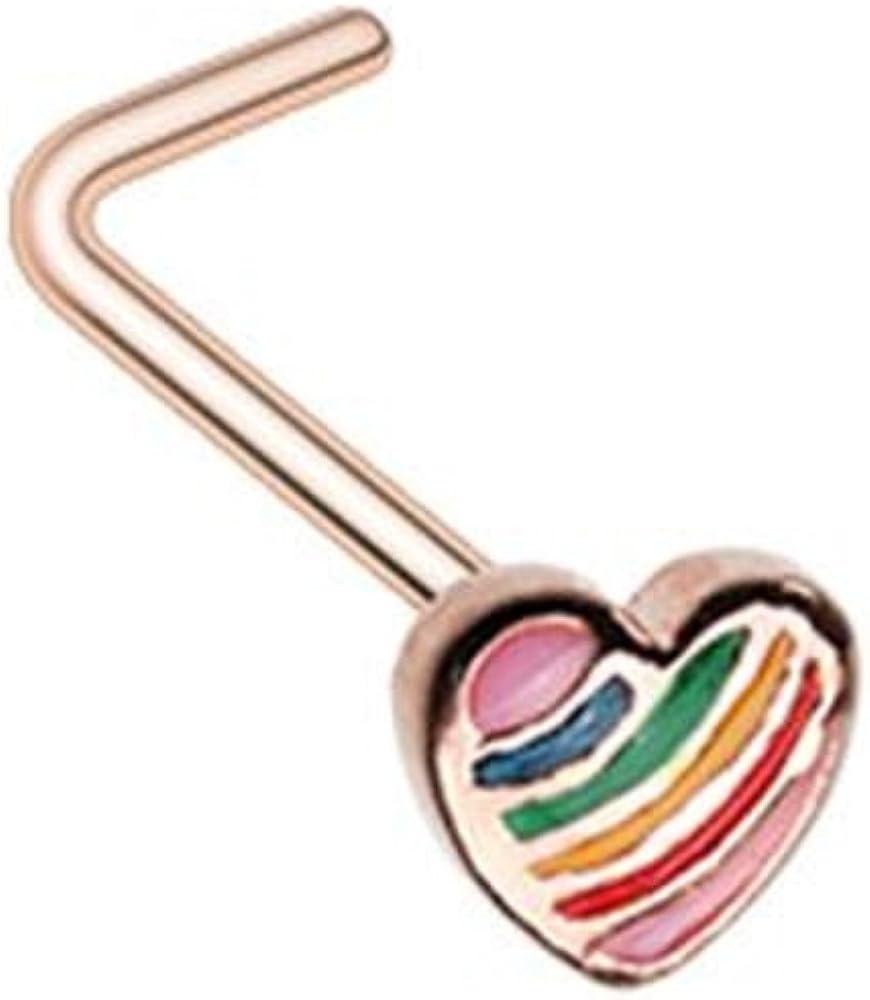 Rose Gold Power of Love Rainbow Heart WildKlass L-Shape Nose Ring