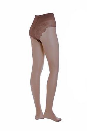 10379a28d99c3c Conte Bikini Women's 40 Denier Sheer Pantyhose with Decorative Laced  Panties - Brown, Small