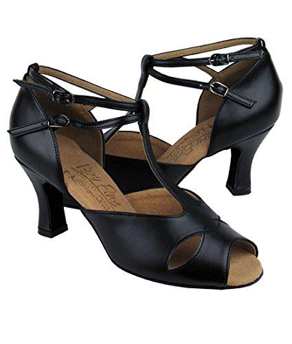 Très Belle Salle De Bal Latine Tango Chaussures De Danse Salsa Pour Les Femmes S2803 2,5 Pouces Talon + Bundle De Brosse Pliable En Cuir Noir