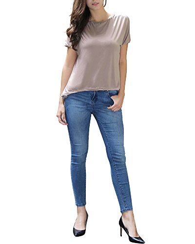 Mujeres Camiseta Con Manga Larga Cuello Redondo Camisa BLouses T Shirt Pullover Sudadera Caqui