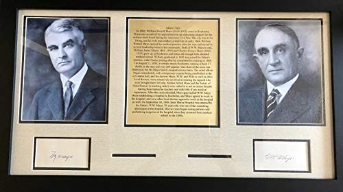 Mayo Clinic Dr's Charles & William Mayo Hand Signed Display Todd Mueller COA's