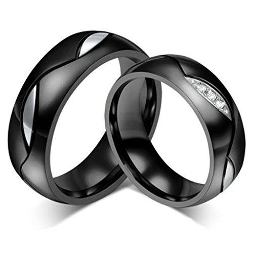 KnBoB Acero Inoxidable Anillos para Hombre y Mujer Ronda Ancho 6mm Circón Incrustado Negro Anillo de Compromiso Tamaño del...