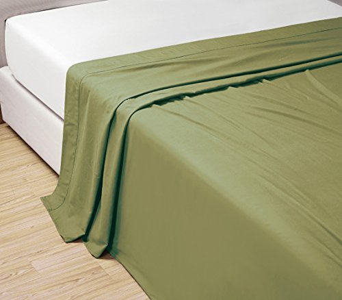Queen Size Flat Sheet - QUEEN size, SAGE GREEN Solid Flat Bed Sheet -Super Silky Soft -SALE -High Thread Count-Double Brushed Microfiber -1500 Series-Wrinkle, Fade, Stain Resistant, 100%