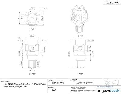 "SMC AR40-N03-Z Regulator, Relieving Type, 7.25 - 123 psi Set Pressure Range, 106 scfm, No Gauge, 3/8"" NPT"
