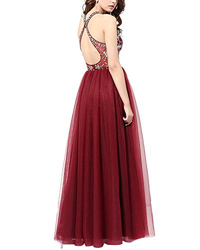 Long Beaded Gown Prom Dress Halter Party Evening Blue Dress Tulle Bridesmay 7P0xqgwn7d