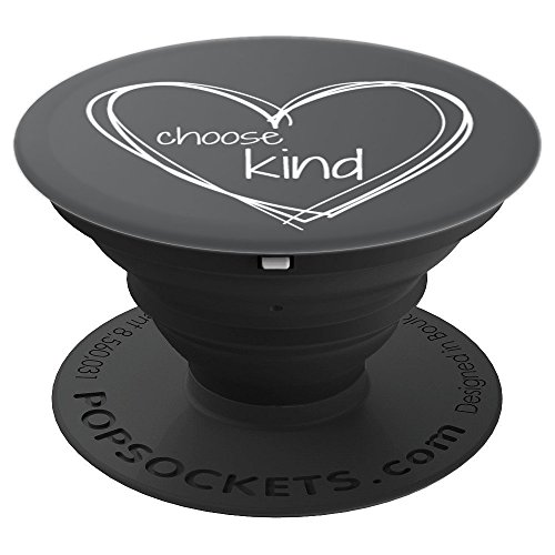 Choose Kind Anti-Bullying (White Hearts on Gray Background) - PopSockets Grip and Stand for Phones and Tablets