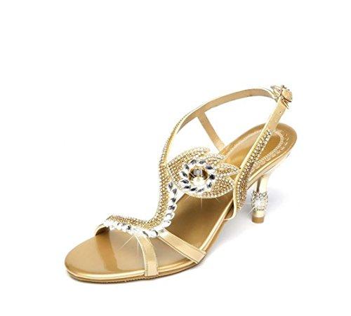 Tacco Gold Diamanti e Sexy Caviglie Strass Estate Sandali 7cm Sandali da Eye Pelle Sottili Sandali Donna in con Sandali con Alto dnHq4B