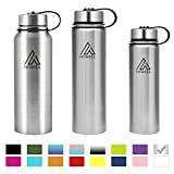 HIWILL Stainless Steel Insulated Water Bottle 2 Lids, Cold 24 Hours Hot 12 Hours, Double Wall Vacuum Thermos Flask, Travel Sports Leak Proof Metal Bottle with Straw, BPA Free (Simple Stainless, 27 oz)