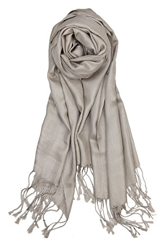 80ba240275ee4 Galleon - Achillea Large Soft Silky Pashmina Shawl Wrap Scarf In Solid  Colors (Light Khaki)