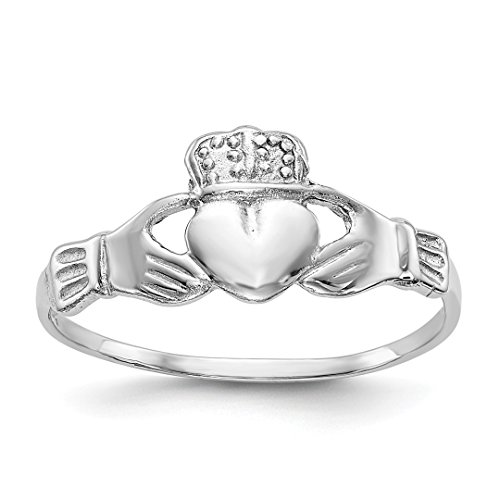 White Irish Claddagh Ring Gold (ICE CARATS 14kt White Gold Irish Claddagh Celtic Knot Band Ring Size 7.00 Fine Jewelry Ideal Gifts For Women Gift Set From Heart)