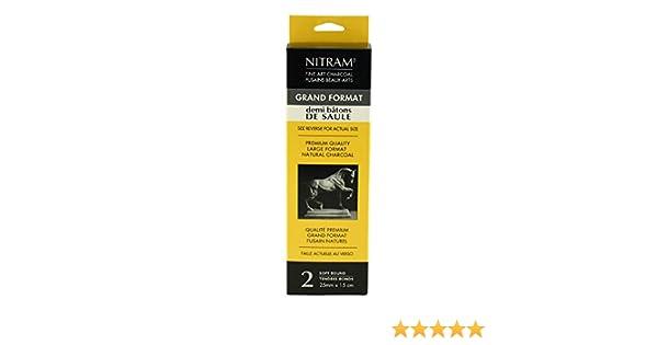 Nitram Demi Bâton de Saule Round Stick Charcoal Extra Soft 25mm Pack of