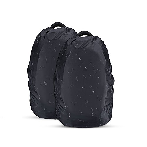 AGPTEK 2-Pack Nylon Waterproof Backpack Rain Cover,Pack Cover, Backpack Waterproof Cover Hiking/Camping /Traveling/Outdoor Activities, Black,Size L:41-55L