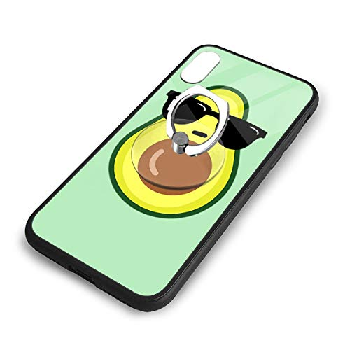 iPhone X Plus Cover Cool Avocado Case with Finger Ring Stand XS Phone Kickstand Holder Shock Protective Basic Protector (Best Avocado Hair Mask Recipe)