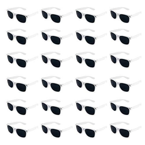 Super Z Outlet Plastic Vintage Retro Style Sunglasses Classic Shades Eyewear Party Prop Favors (24 Pairs) (White) -
