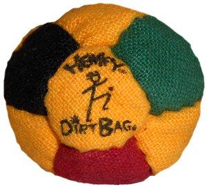 Hempy Dirtbag 14 Panel Footbag, Red/Yellow/Green/Black
