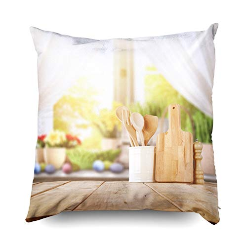 Jacrane Throw Pillows, Decorative Square Throw Pillowcase 20X20 Easter Table Spring Flowers in A Sunny April Kitchen Soft Art Gift with Zip