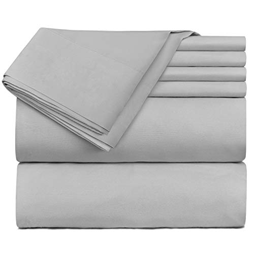 Hearth & Harbor 4 Piece Bed Sheet Set Extra Deep Pocket, Fits Mattress from 18-24 inces Depth, Twin XL, Silver ()