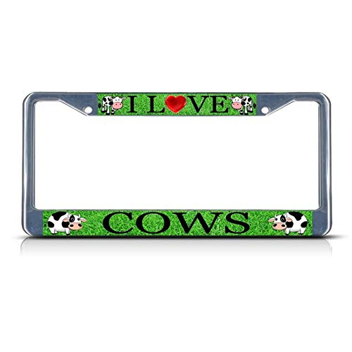 Custom Auto Frames I Love Cows License Plate Frame, Aluminum Metal License Tag Frame, 2 Holes Car License Plate Cover for US Canada Vehicles
