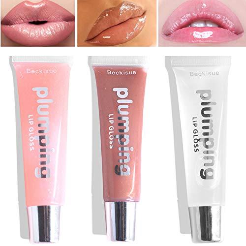 3PCS 3D Pouty Lip Effect Lip Plumper Gloss Plumping Lip Balm Makeup Moisturizes Plump Volume Vitamin E Mineral Oil Eliminate Dryness Wrinkles, Nude Shiny -