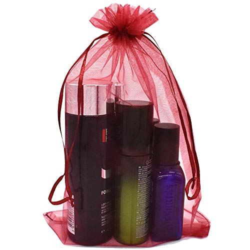 (30Pcs 8 x 12 Inch Drawstring Organza Gift Bags Jewelry Party Wedding Favor Party Festival Gift Bags Candy Bags (Wine Red))