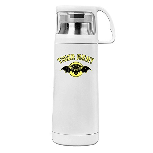 (MeiXue Tiger Army Band Logo Vacuum Cup Water Bottle White)