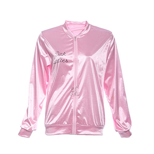 Ladies Womens Pink Grease Costume Jacket (Ladies 1950s Grease Pink Lady Jacket Costume T-shirt Party Fancy Dress)