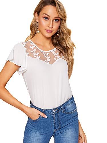 WDIRARA Women's Ruffle Short Sleeve Lace Insert Frill Cuff Casual Top Blouse White ()