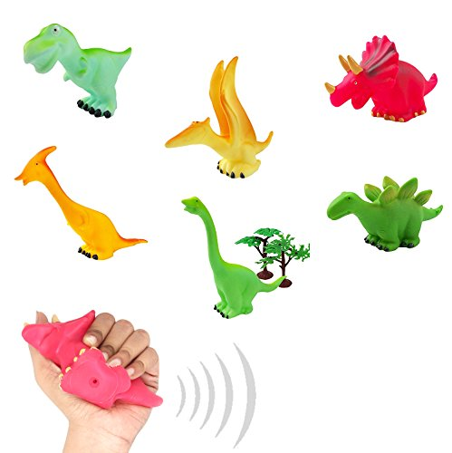 6 Pack Squeeze and Chew Soft Vinly Rubber Squeaky Dinosaur F