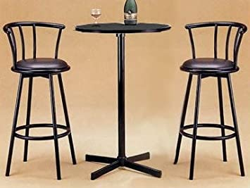 Roundhill Furniture Nor Hill 3 Piece Black Metal Height Bar Table Set With 2  Stools