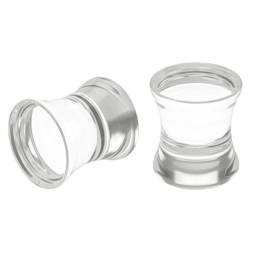 Bling Unique 2pc 0g 8mm Clear Acrylic Double Flare Ear Plugs Piercing Zero Gauge Big Cool Earrings Stretchers Kit (Double Flare Clear)