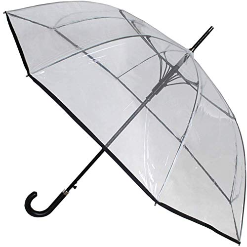 COLLAR AND CUFFS LONDON - Windproof 60MPH EXTRA STRONG - StormDefender Clear Canopy - 43in Diameter, 53in Arc - Reinforced Fiberglass Frame Umbrella - Auto Open - Leather Style Hook Handle