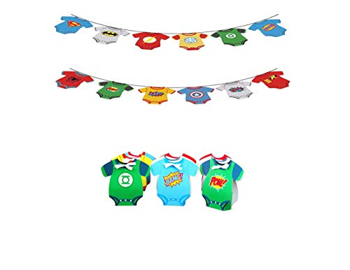 Superhero Comic Baby Party Banner and 12 Onesie Treat Favor Gift Boxes Marvel Avengers Justice League]()