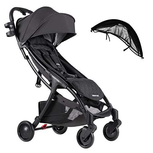 Compact Stroller 2020 Ultra Lightweight Baby Stroller + Universal Mosquito Net Dark Grey & Black