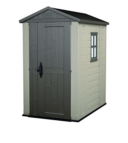 Keter Factor 4x6 Foot Large Resin Outdoor Shed with Floor for Patio Furniture, Lawn Mower, and Bike Storage, Taupe/Brown