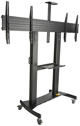 Displays2go EMDB4060BK Dual HDTV Stand with Wheels, Holds 40-60 TV Screens, Height Adjustable